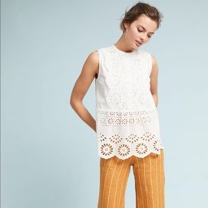 🆕NWT rare Anthropologie eyelet button up tank top